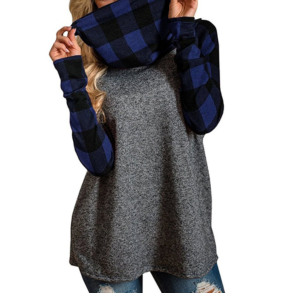 Fimkaul Womens Essentials Turtleneck Tops Plaid Cowl Neck Patchwork Torch Tunik Women Blue Black Navy L Shirts Oversized Tunic Long Sleeve Pullover