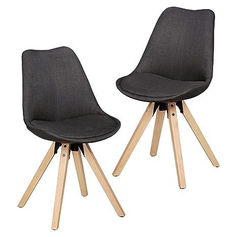 Finebuy Design Esszimmerstuhle 2er Set Fb5059 Skandinavische Stuhle Mit Holzbeinen Retro Stuhlset Anthrazit Kuchenstuhle Mit Stoff Lehnenstuhl