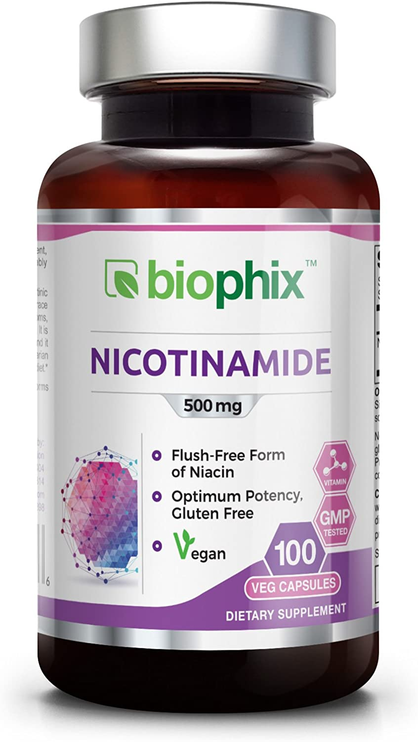B3 Nicotinamide 500 mg 100 Vegetarian Capsules – Natural Flush-Free Vitamin Formula Gluten-Free Nicotinic Amide Niacin Skin Health and Healthy Cell Repair Support