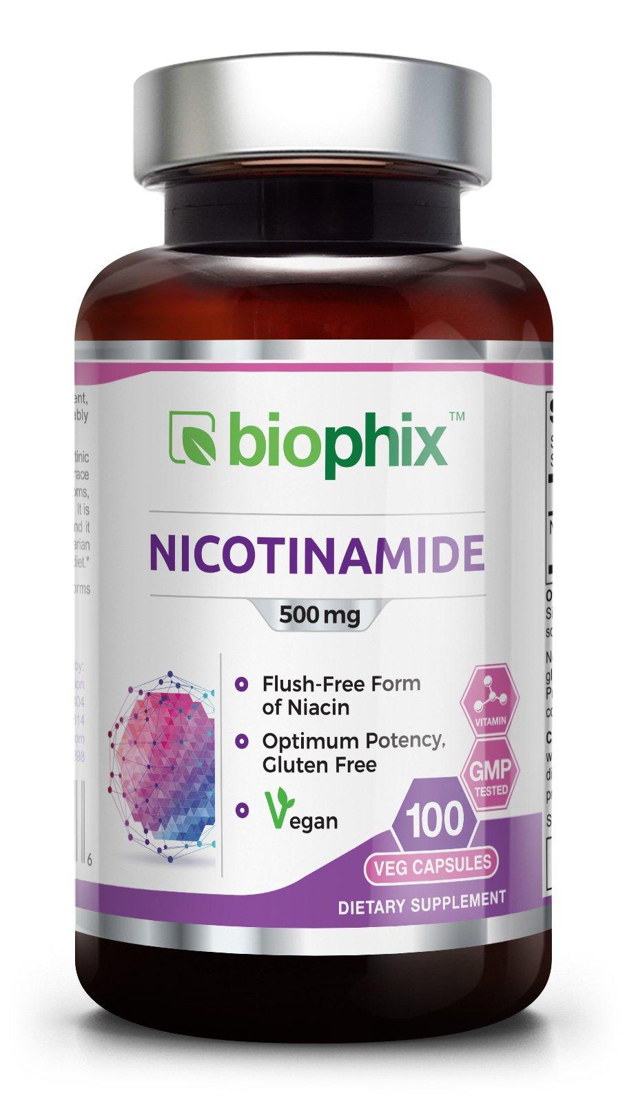 B-3 Nicotinamide 500 mg 100 Vegetarian Capsules Flush Free - Natural Flush-Free Vitamin Formula | Gluten-Free Nicotinic Amide Niacin | Supports Skin Health | Healthy Cell Repair