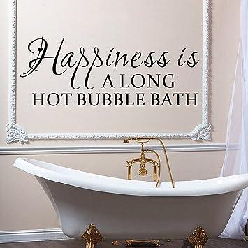 Luckkyy® Happiness Is A Long Hot Schaumbad Wand Aufkleber Badezimmer Zitate  Dusche Aufkleber Sprüche Badewanne