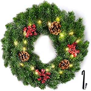 FRISTMAS Pre-Lit Cordless Wreath, Battery Operated 14 inch Wreaths for Front Door with 20 LED Warm Lights and Wreath Hanger/Pine Cones/Berries Indoor Outdoor