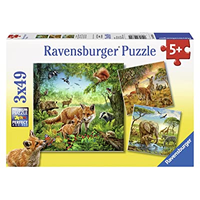 Ravensburger Animals of The Earth Jigsaw Puzzle (3 x 49 Piece): Toys & Games
