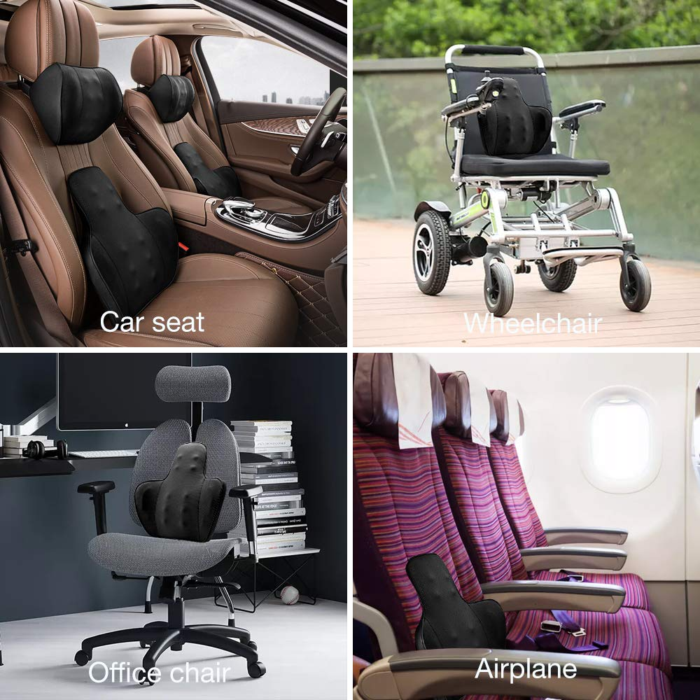 QUEES Car Lumbar Back Support Provide Massage Feature Office Chair Leather Cushion Back Pain Relief