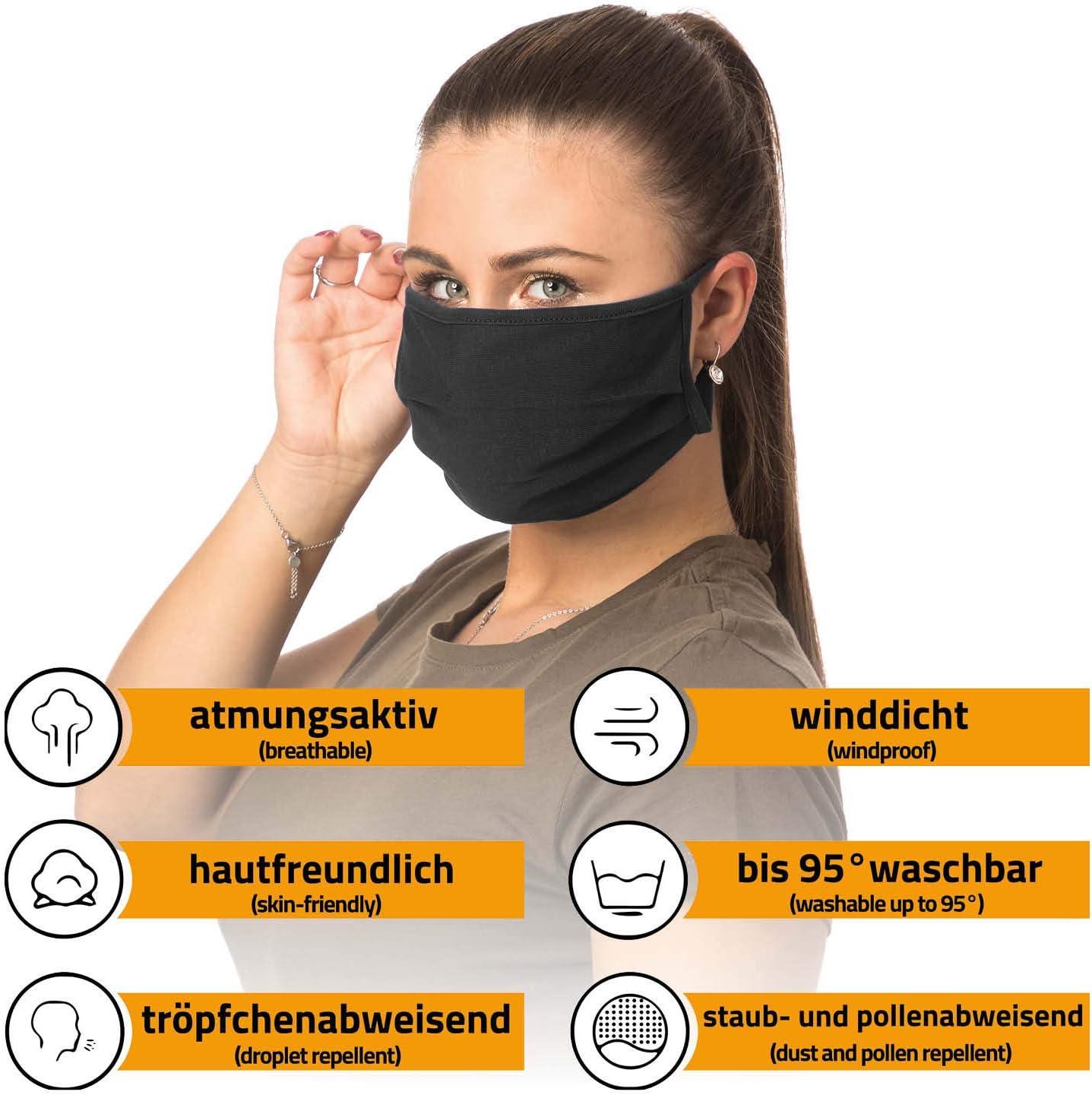 Earloop-Design Wiederverwendbare Behelfs-Abdeckung f/ür Mund Nase Mundschutz waschbar aus 100/% Bio-Baumwolle Oeko-TEX 100 Standard H/ände-Hygienet/ücher gratis nachhaltig
