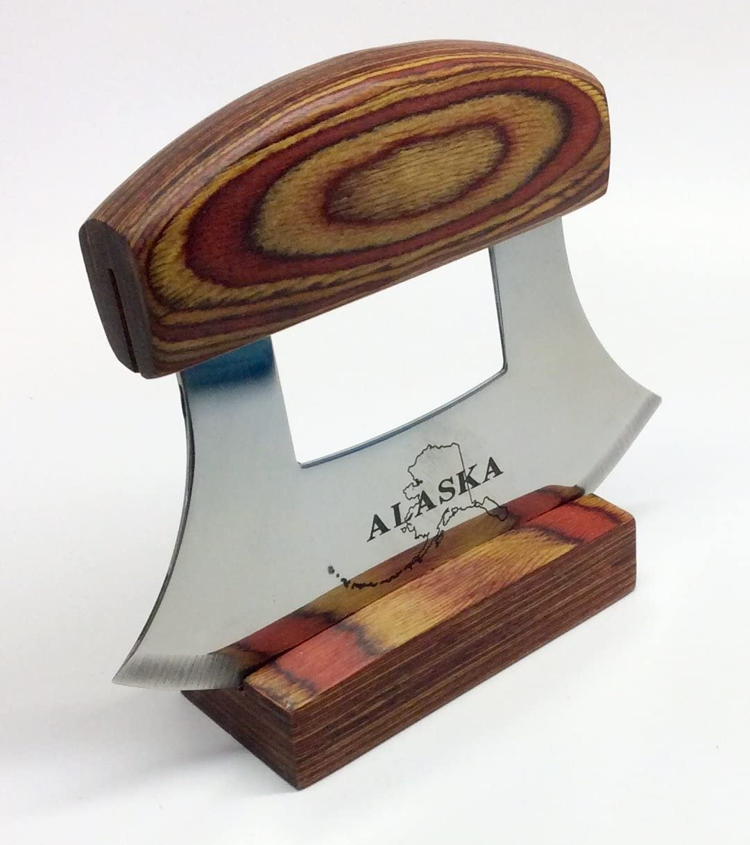 Alaska Ulu Knife with Natural Exotic Wood Stand Etched Blade