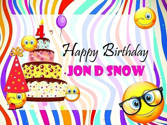 Custom Home Decor Big Cake And Emoji Birthday Poster For Kids