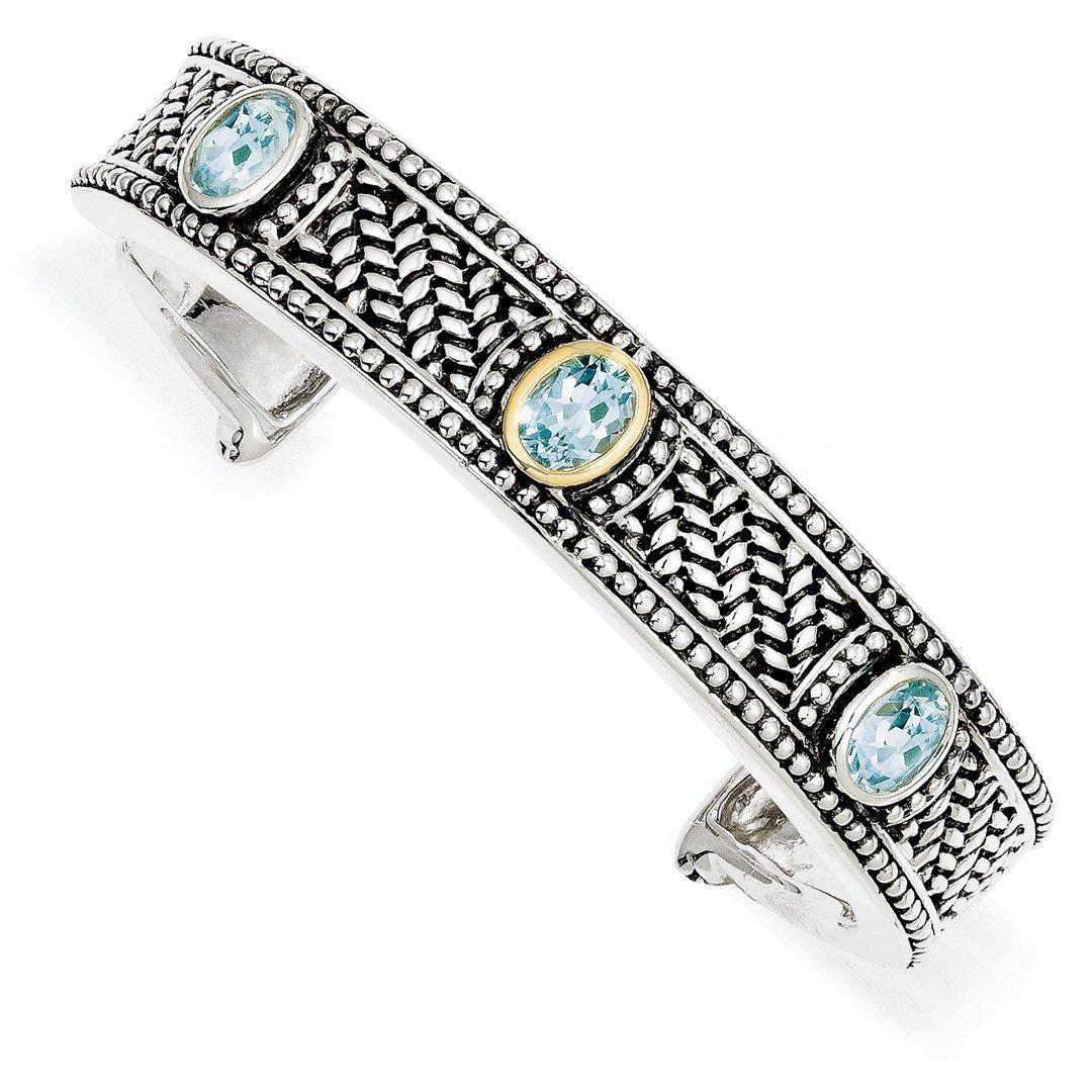 ICE CARATS 925 Sterling Silver 14k 4.80sky Blue Topaz Cuff Bracelet 7 Inch Bangle Fine Jewelry Gift Set For Women Heart
