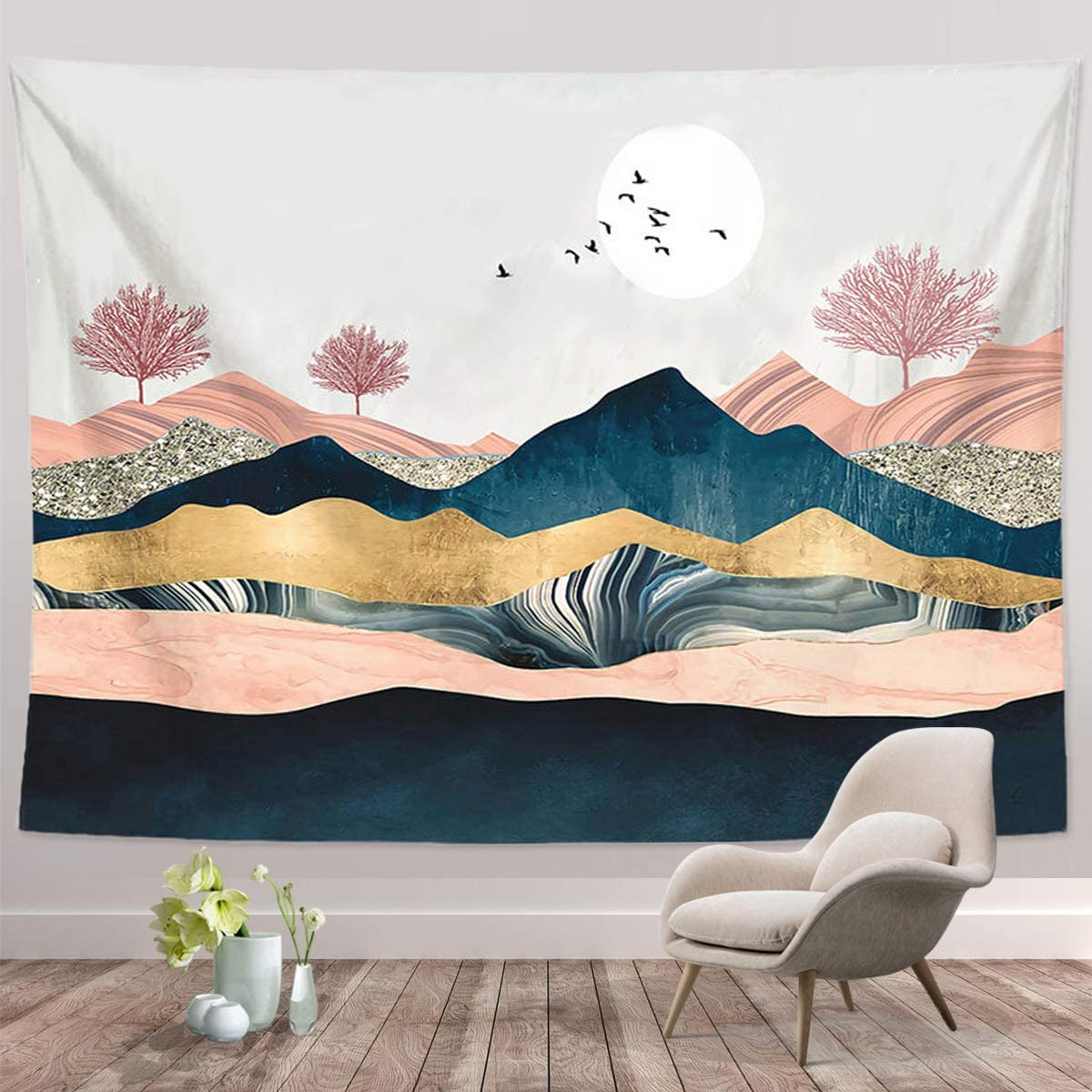 "Mountain Sunset Tapestry, Nature Forest Tree Landscape Tapestries, Wall Hanging for Bedroom Living Room Dorm(Mountain Sunset-51.2"" X 59.1"")"