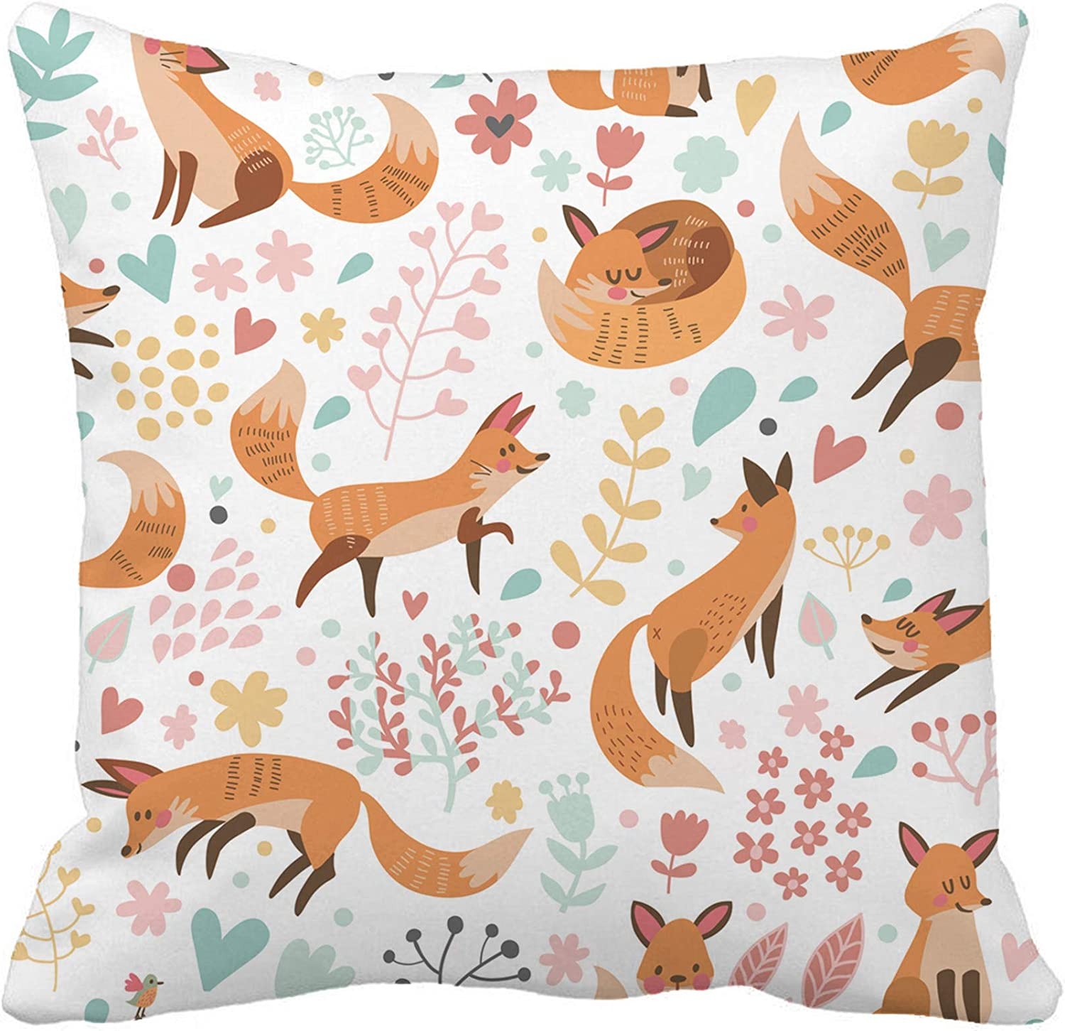 rouihot 18x18 Inch Throw Pillow Cover with Cute Foxes and Flowers Awesome in Bright Colors in Home Decor Pillowcase Square Pillow Case Cushion Cover for Sofa Bed