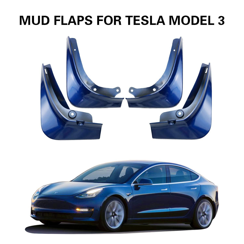 Painted Glossy Black LFOTPP Mud Flaps for Tesla Model 3 Splash Guards Mudflap Fender Mudguards Pack of 4