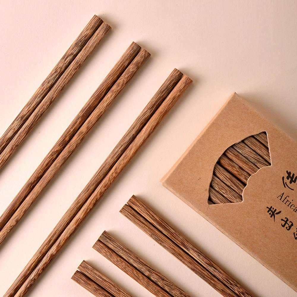 Chinese Natural Wenge Chopsticks Domestic Paint-Free Wax-Free Wooden Chopsticks Solid Wood Tableware 10-Pairs Family Set by yuan sen tai (Image #5)