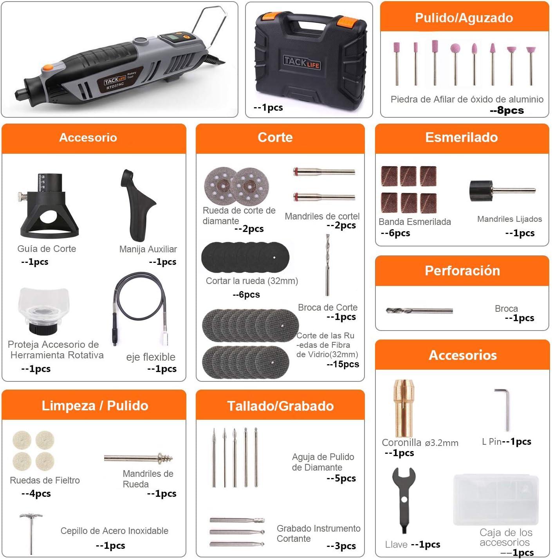TACKLIFE Meuleuse /électrique multifonction 200 W avec /écran LCD RTD37AC id/éal pour travaux de bricolage outil rotatif /à haute vitesse de 40 000 tr//min