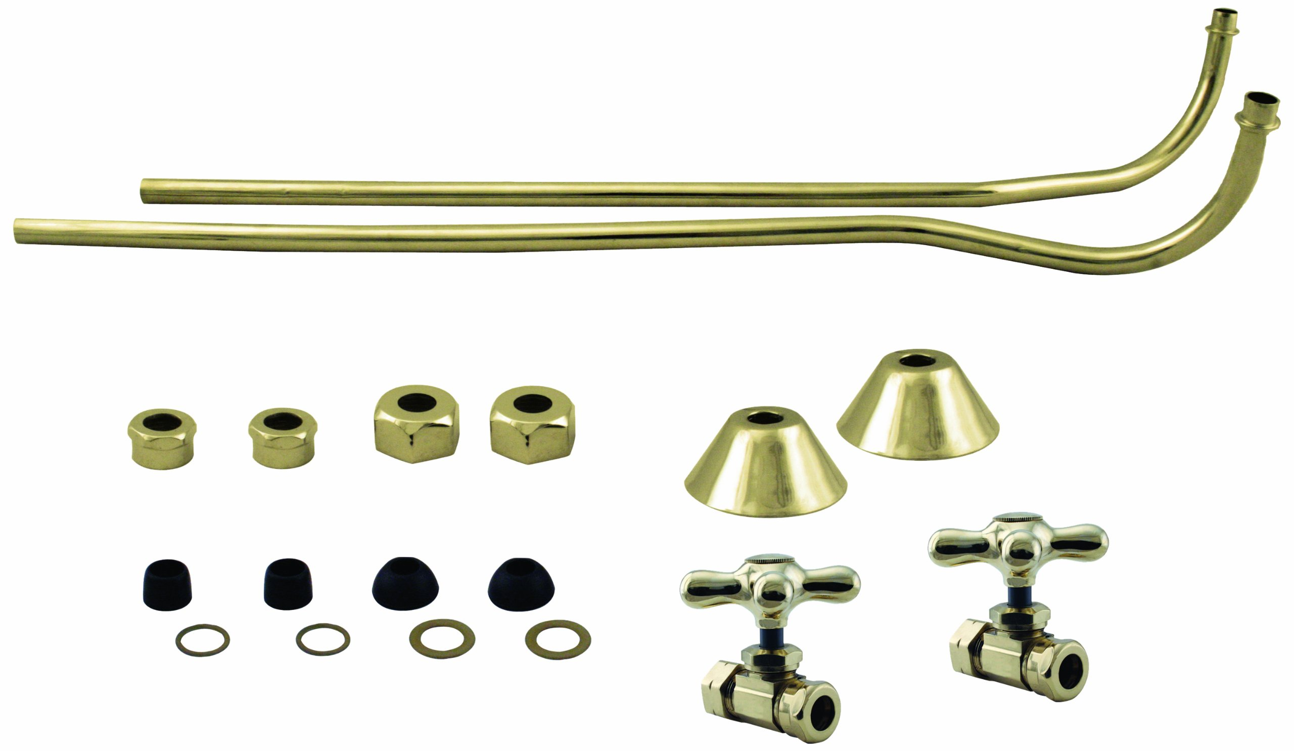 Westbrass 1/2'' Copper Stops & Double Offset Bath Supply with Cross Handles, Polished Brass, D136-110X-01