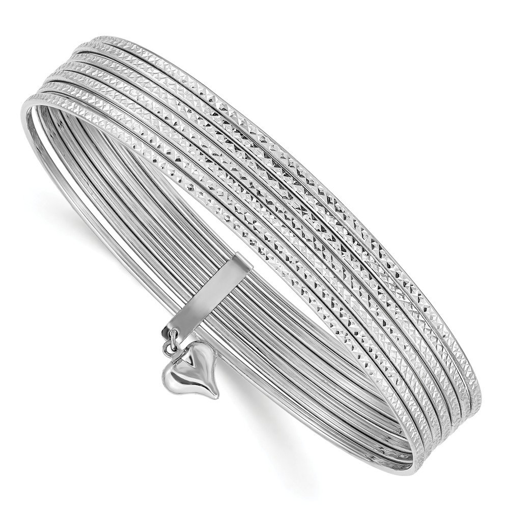 14k White Gold Slip On 7 Bangles Bracelet Cuff Expandable Stackable Bangle Fine Jewelry Gifts For Women For Her by ICE CARATS (Image #1)