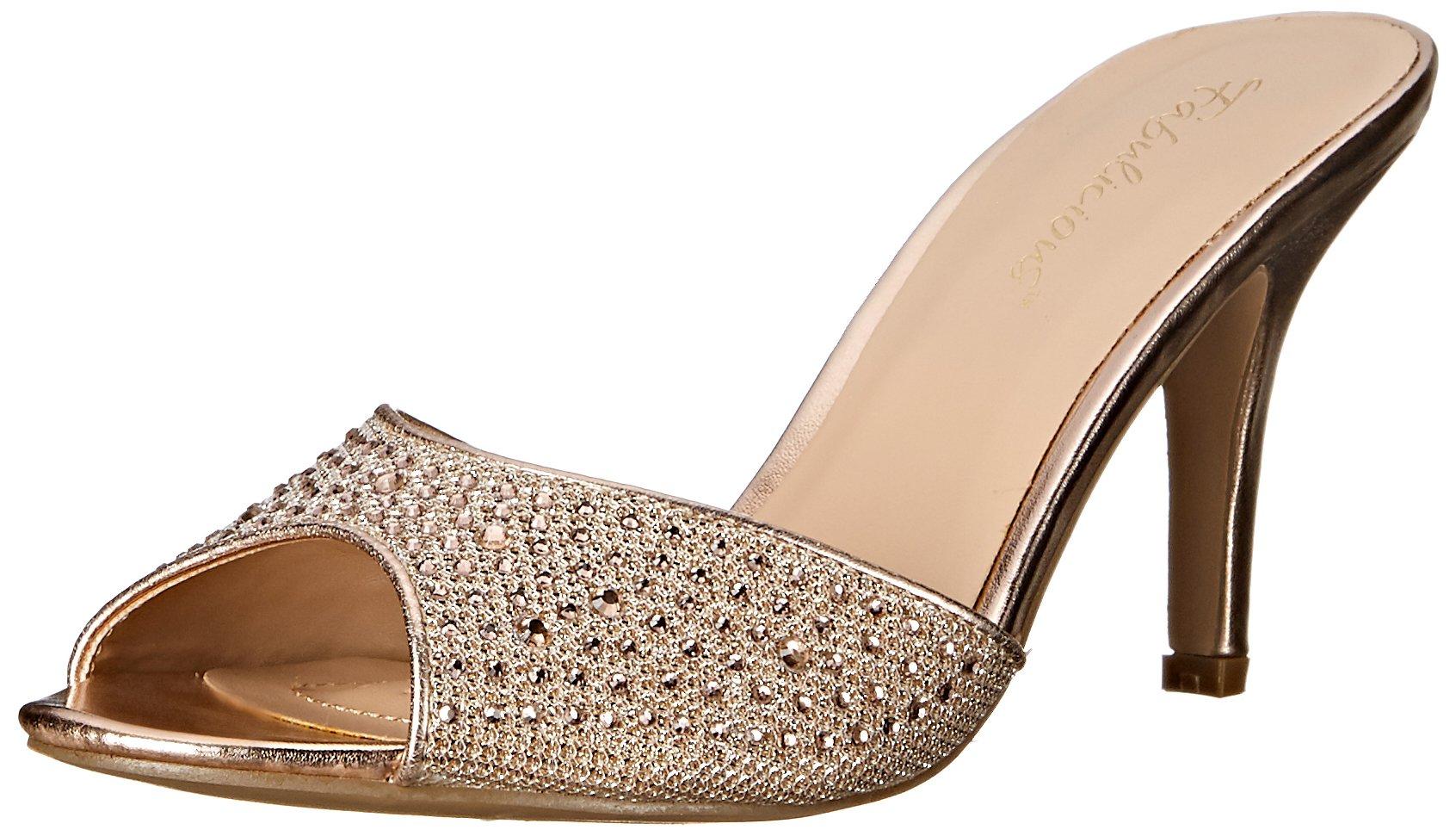 Fabulicious Women's LUCY01/Ggfa Dress Sandal, Gold Glitter Mesh Fabric, 9 M US