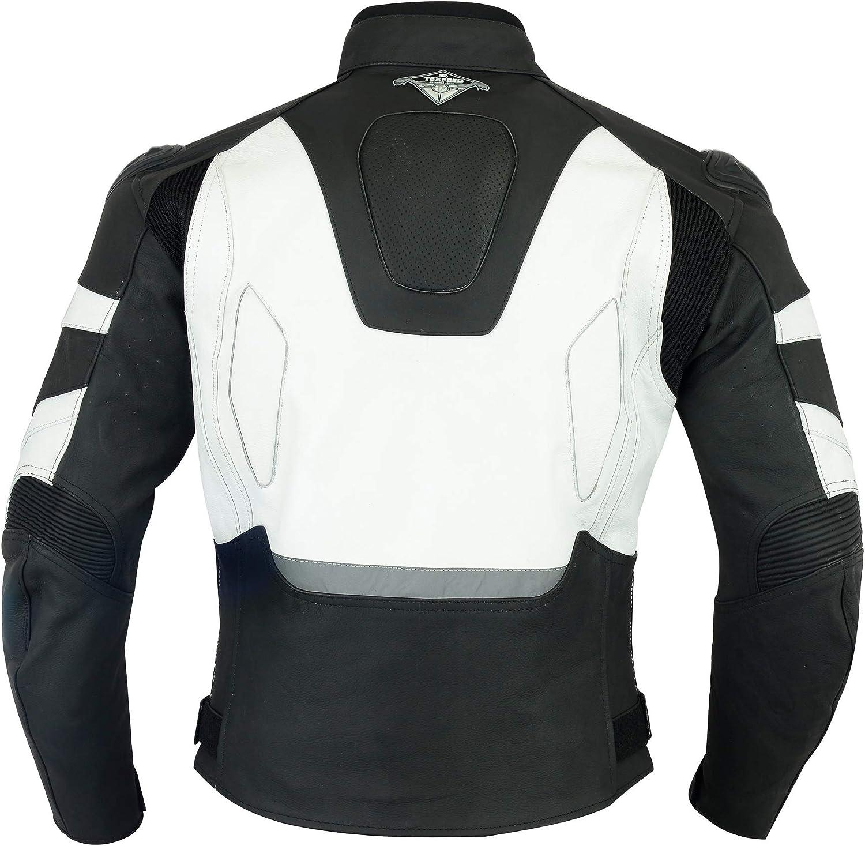 EU54 Texpeed Negro y rojo 3 Colores Cuero RS Chaqueta de motociclismo para hombre L Con protectores de quita y pon