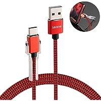 Tipo C Cable de carga con soporte para teléfono, Lecone 1m/3.3ft Cable trenzado de nylon USB C 2.0 de carga rápida y transferencia de datos para Samsung Galaxy Note 9 8 S8 S8+ S9 S9+ S10, Nintendo Switch, tableta y otros dispositivos USB C, Negro y Rojo