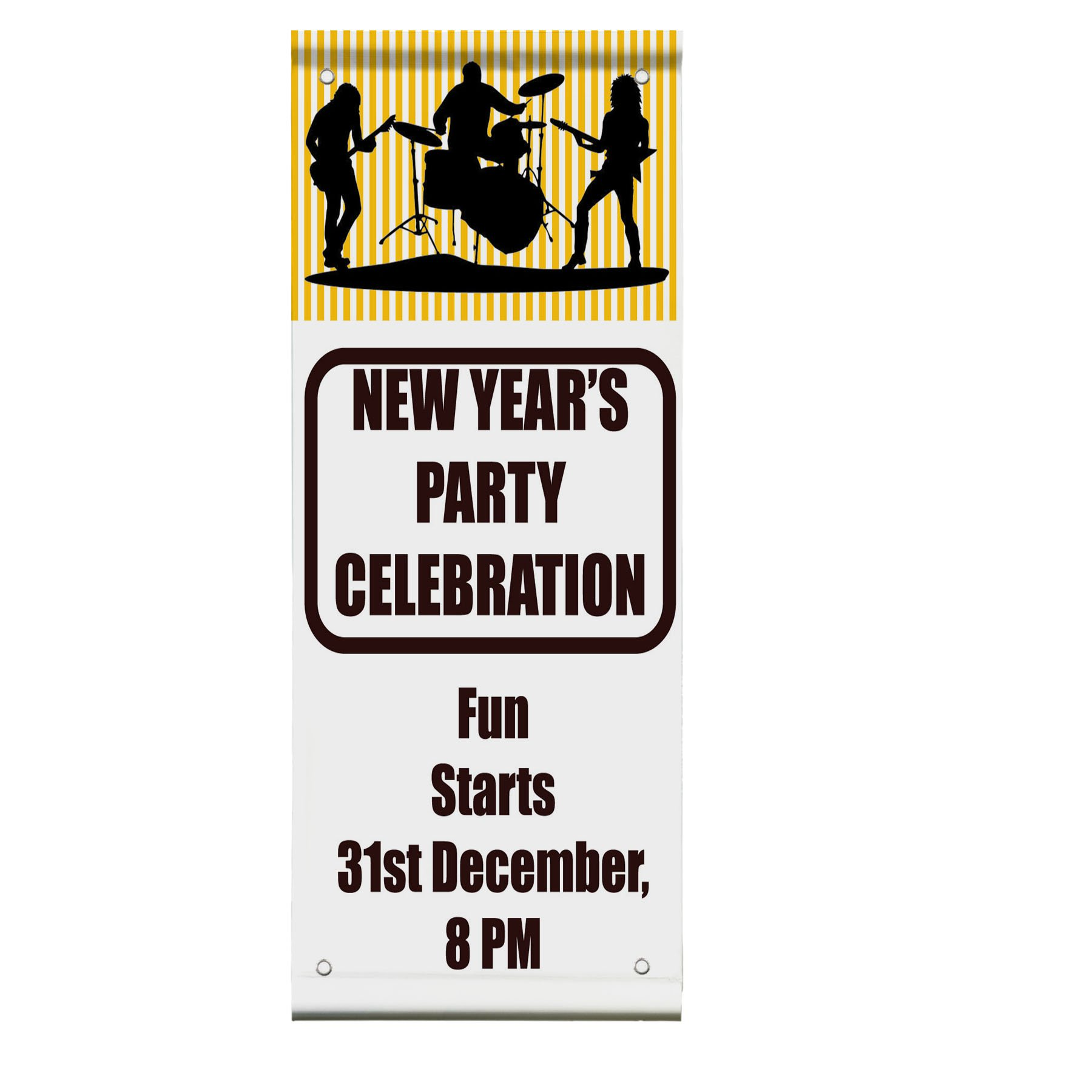 New Year'S Party Celebration Custom Time Double Sided Vertical Pole Banner Sign 24 in x 36 in w/ Wall Bracket