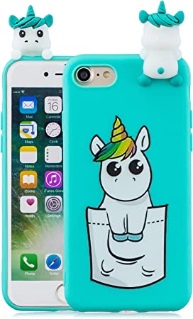 Yobby Cover per iPhone 7,Cover iPhone 8,Azzurra Silicone 3D Cartoon Animali Disegni Custodia,Ragazza Bambini Carino Kawaii Cavallo Case,Morbida ...