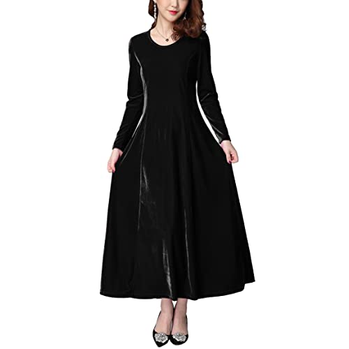 Urban CoCo Womens Elegant Long Sleeve Ruched Velvet Stretchy Long Dress