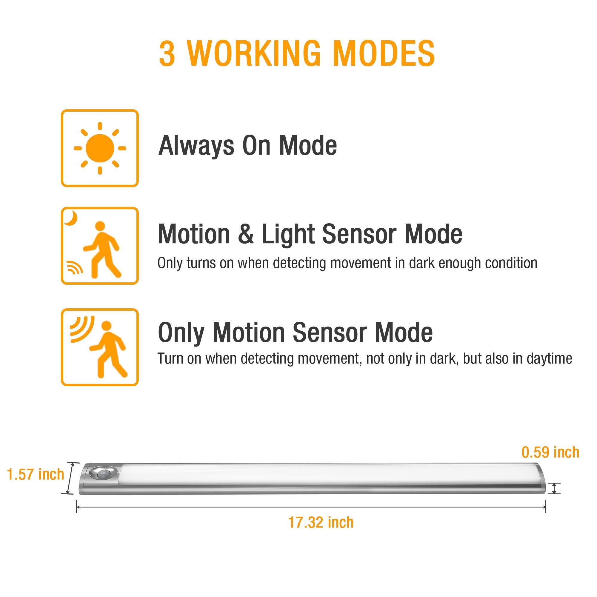 66 LED Under Cabinet Light, Rechargeable Motion Sensor Closet Light Wireless Luxury Aluminum Night Lighting for Kitchen Cabinet, Closet, Wardrobe, 2 Sensor Mode (Only Motion, Motion & Light) by LOFTER (Image #4)