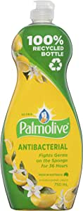 Palmolive Ultra Strength Antibacterial Dishwashing Liquid Concentrate with Lemon Extract Made in Australia 100% Recycled Bottle, 750mL