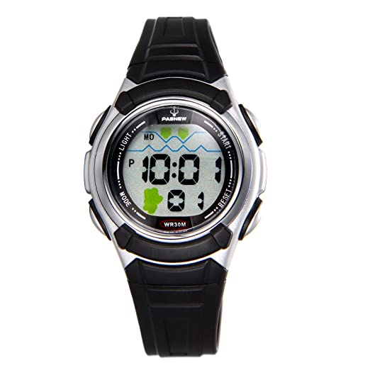 JewelryWe Relojes de Pulsera para Niños Niñas Infantil, Reloj Digital Deportivo Dibujo Simpatico, Multifunciones de Colores Negro Relojes para 5-12 Años de ...