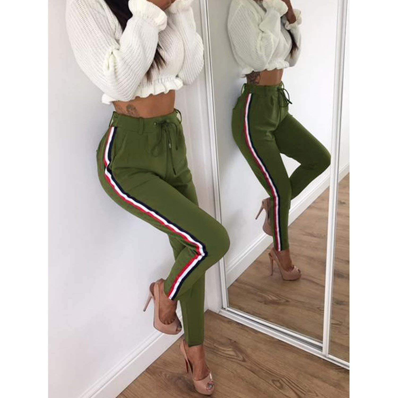 Side Striped Pants Women Spring Trousers Casual High Elastic Waist Drawstring Slim Pencil Pants