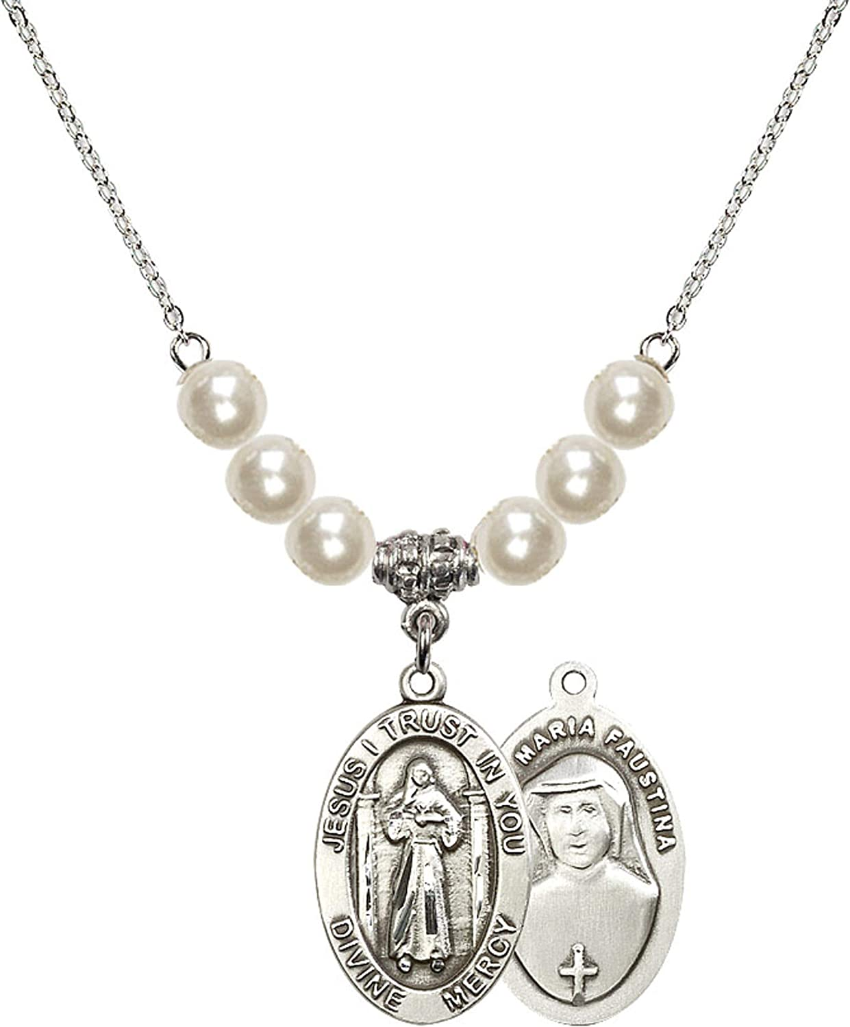 Bonyak Jewelry 18 Inch Rhodium Plated Necklace w// 6mm Faux-Pearl Beads and Divine Mercy Charm