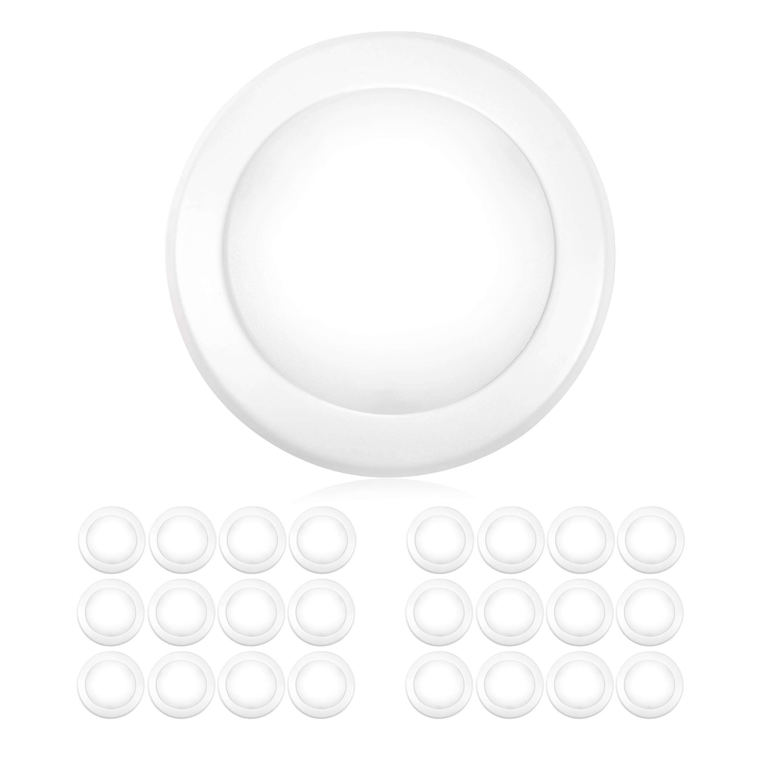 "Parmida (24 Pack) 5/6"" Dimmable LED Disk Light Flush Mount Recessed Retrofit Ceiling Lights, 15W (120W Replacement), 3000K (Soft White), Energy Star, Installs into Junction Box Or Recessed Can, 1050lm"