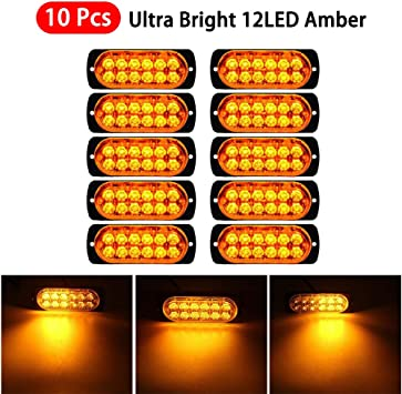 WINBANG LED Emergency Strobe Lights,10pcs 6 LED Surface Mount Strobe Warning Emergency Flashing Light Caution Construction Hazard Light Bar For Car Truck Van Off Road Vehicle ATV SUV Amber