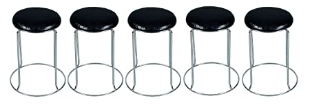 IYB Furniture -Metal Stool-Doctor/Kitchen Stool/Office Stool/Chair/ Cafeteria Stool/Bar Stool (Black) 5 Pcs