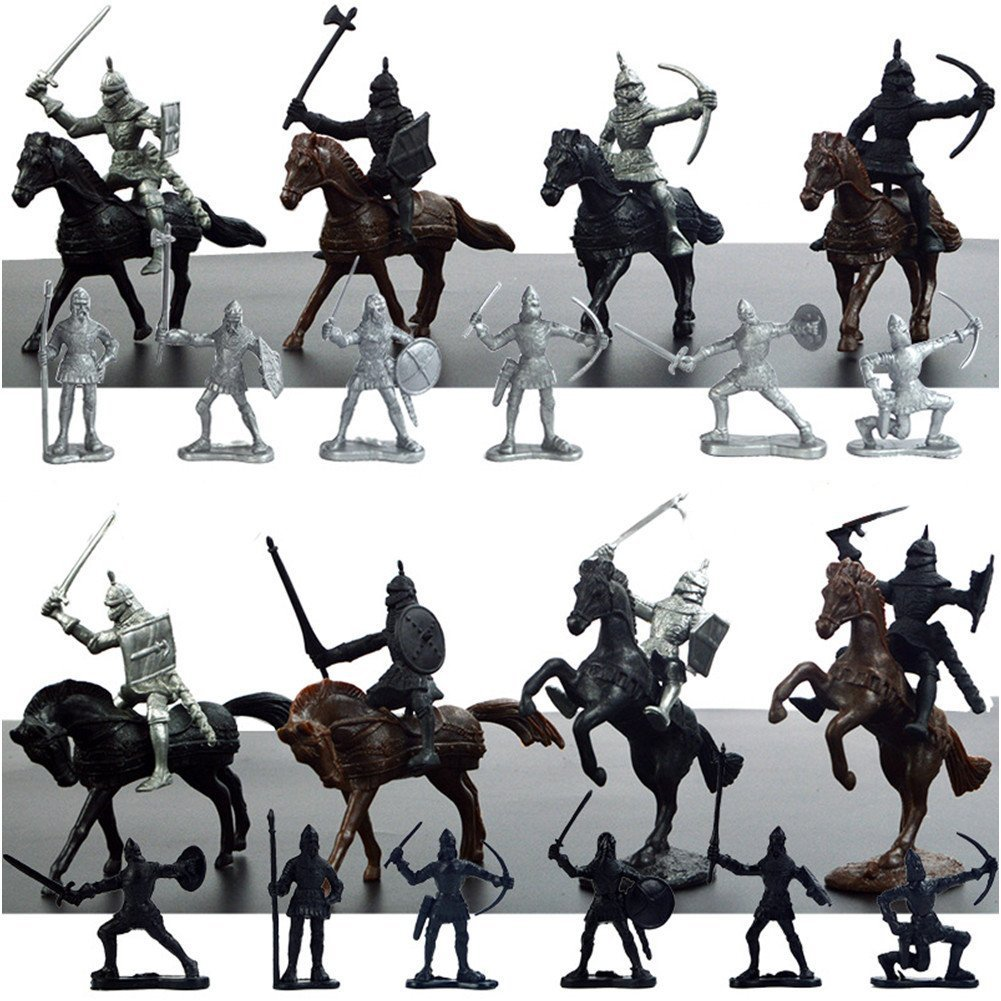 28 Pieces Knight & Horses Soldier Toys Army Men Action Figures, 3 Inch