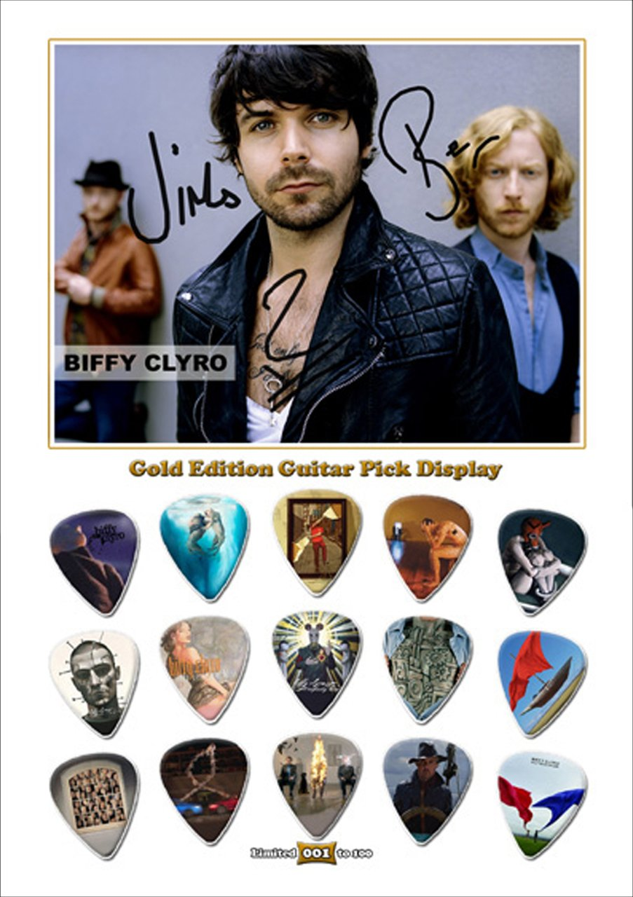 Biffy Clyro Gold Edition Gitarre Plektrum Plektron Display mit 15 ...