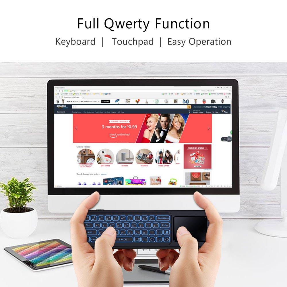 VONTAR Mando a distancia para ratón de aire, 2,4 GHz, mini teclado inalámbrico colorido retroiluminado y ratón Gyro Touchpad Air Remote Control para Android ...