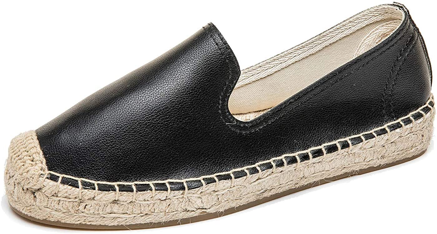 U-lite Women's Classic Flat Cap-Toe Slip ons Simple Espadrilles Leather Loafers with Leather Lining Black9