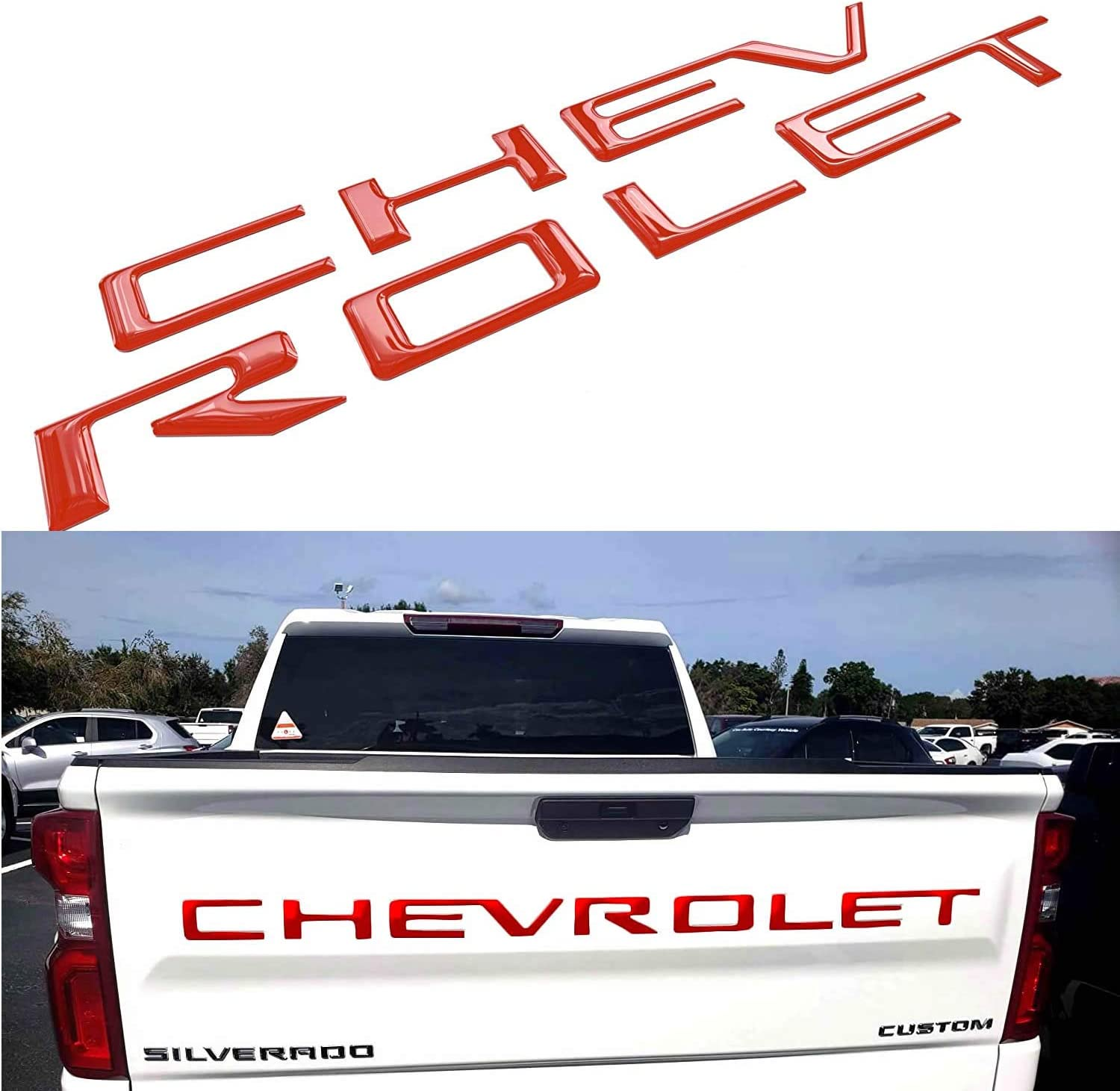 Tailgate Raised Letters Compatible with Silverado 2019 2020 Red Tailgate Emblems Inserts Letters 3D Raised /& Strong Adhesive Decals Letters