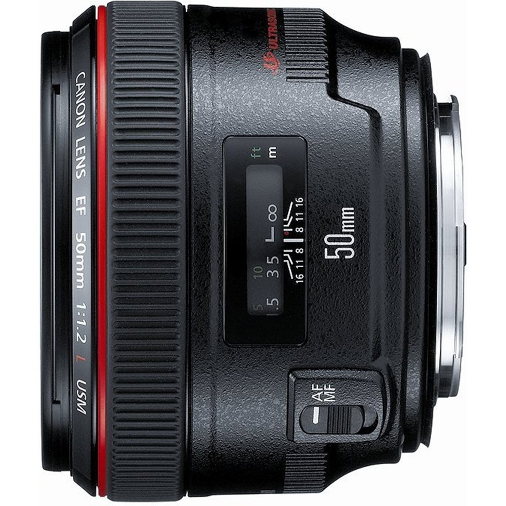 Canon EF 50mm f / 1.2L USM with Case LP1214, and Hood ES-78 and kit includes a 72mm UV Protective Filter.