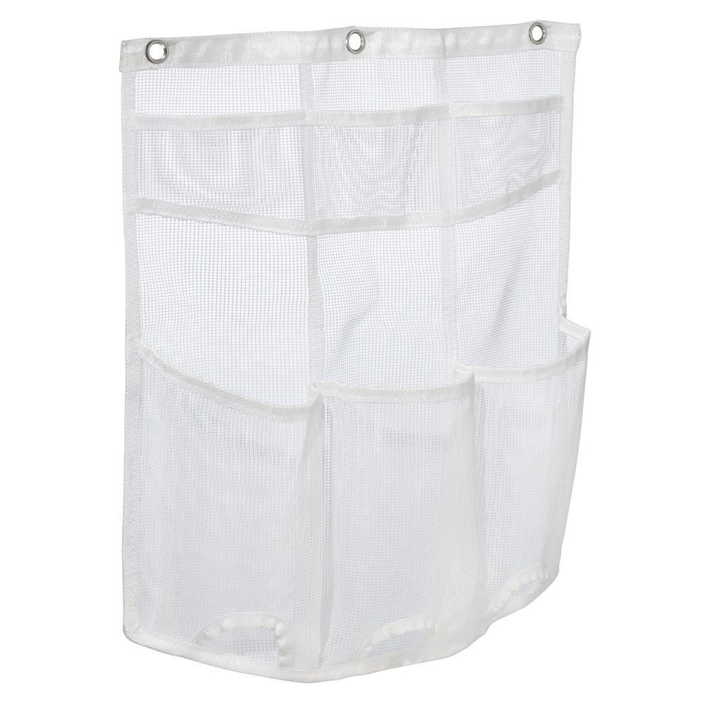 InterDesign Una Bathroom Over Door Mesh Shower Caddy for Shampoo, Conditioner, Soap - White