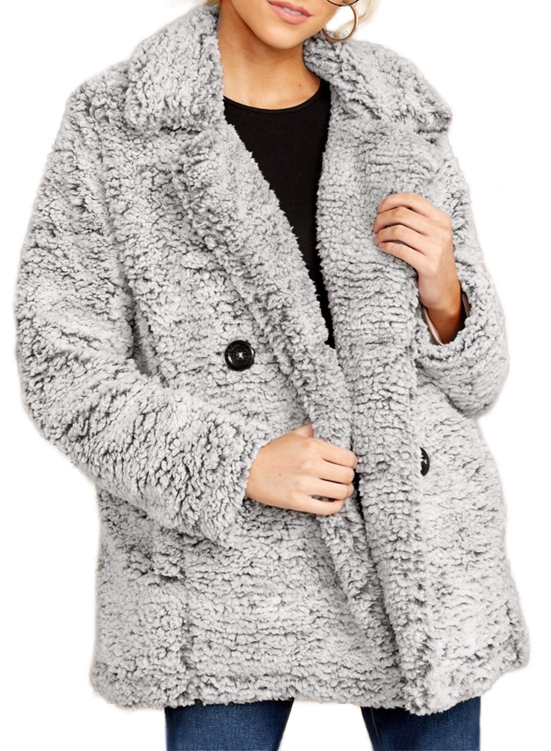 Dokotoo Womens Casual Jackets Solid Winter Oversized V Neck Warm Fashion Lapel Fleece Fuzzy Cardigans Jackets Open Front Button Coats with Pockets Outerwears Gray Small by Dokotoo