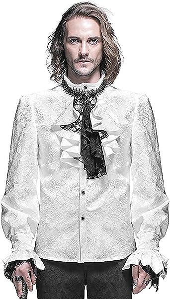 Devil Fashion Gótico para Hombre Camiseta Blanco Steampunk Regency Aristocrat + Pañuelo: Amazon.es: Ropa y accesorios