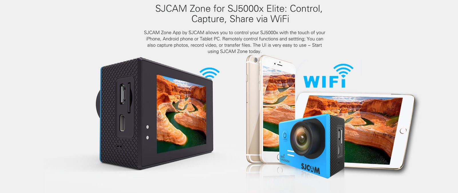 SJCAM SJ5000X Elite WiFi 4K 24fps 2K30fps Gyro Sports DV 2.0 LCD NTK96660 Diving 30m Waterproof Action Camera Black by SJCAM
