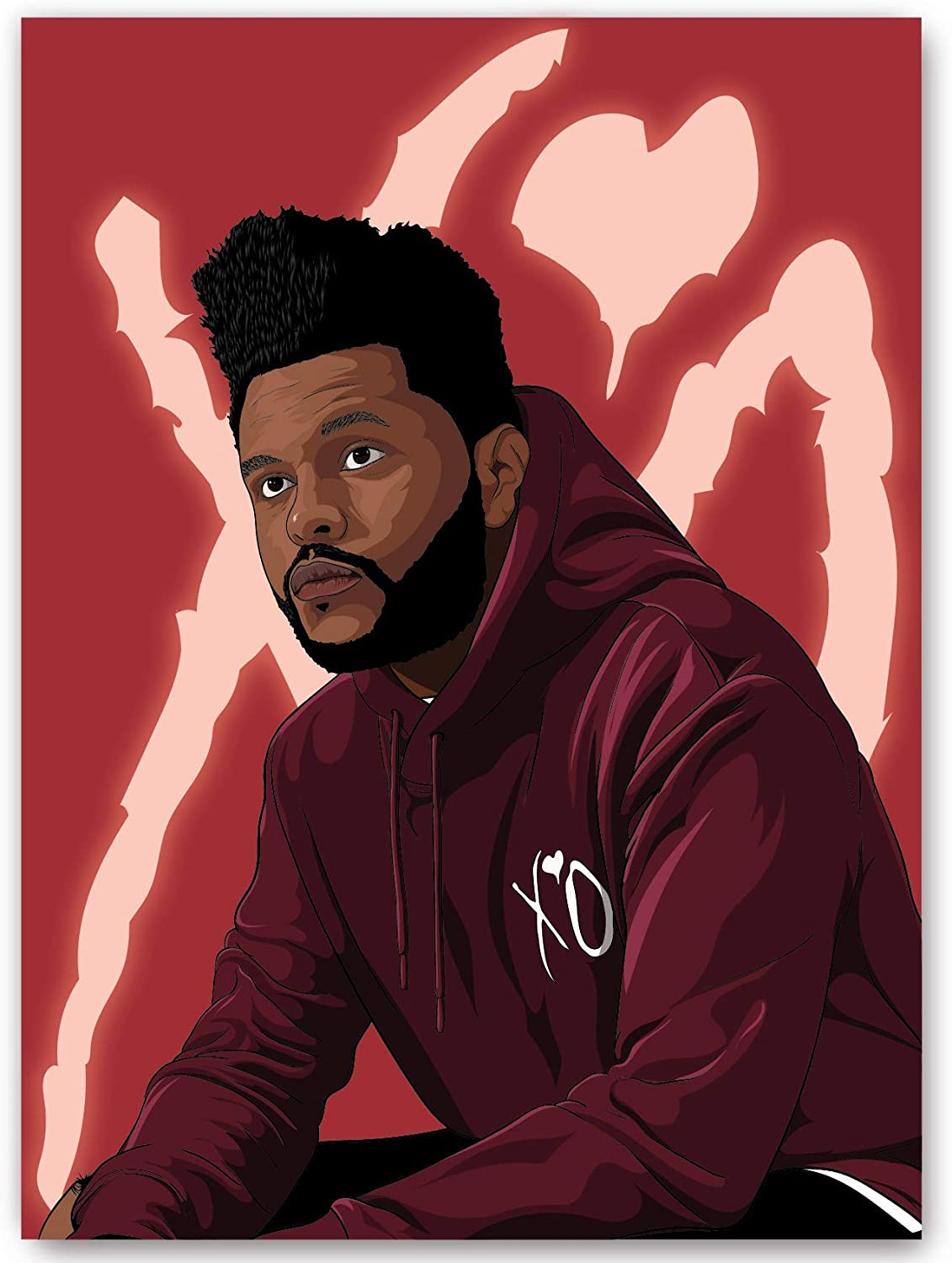 The W.e.e.k.n.d XO Starboy Wall Art Poster Print Full Color Matte Finish Home Decor (22x16 Inches)