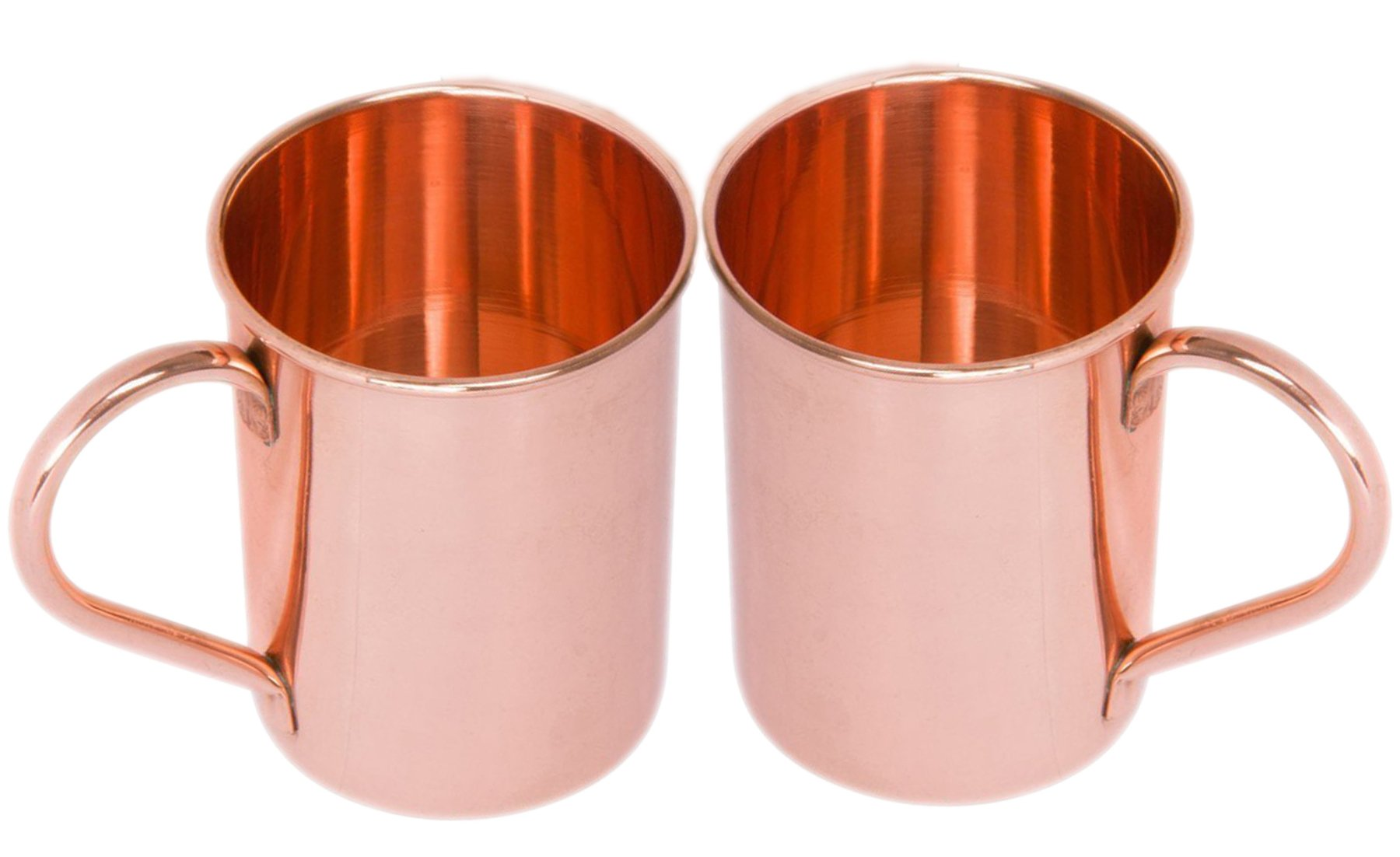Classic Solid Copper Moscow Mule Mugs Pure Solid Copper No Lining Smooth Finish 16 oz Copper Mug Set of 2