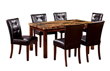Furniture Of America Carignan 7 Piece 60 Inch Dining Table Set With Faux  Marble