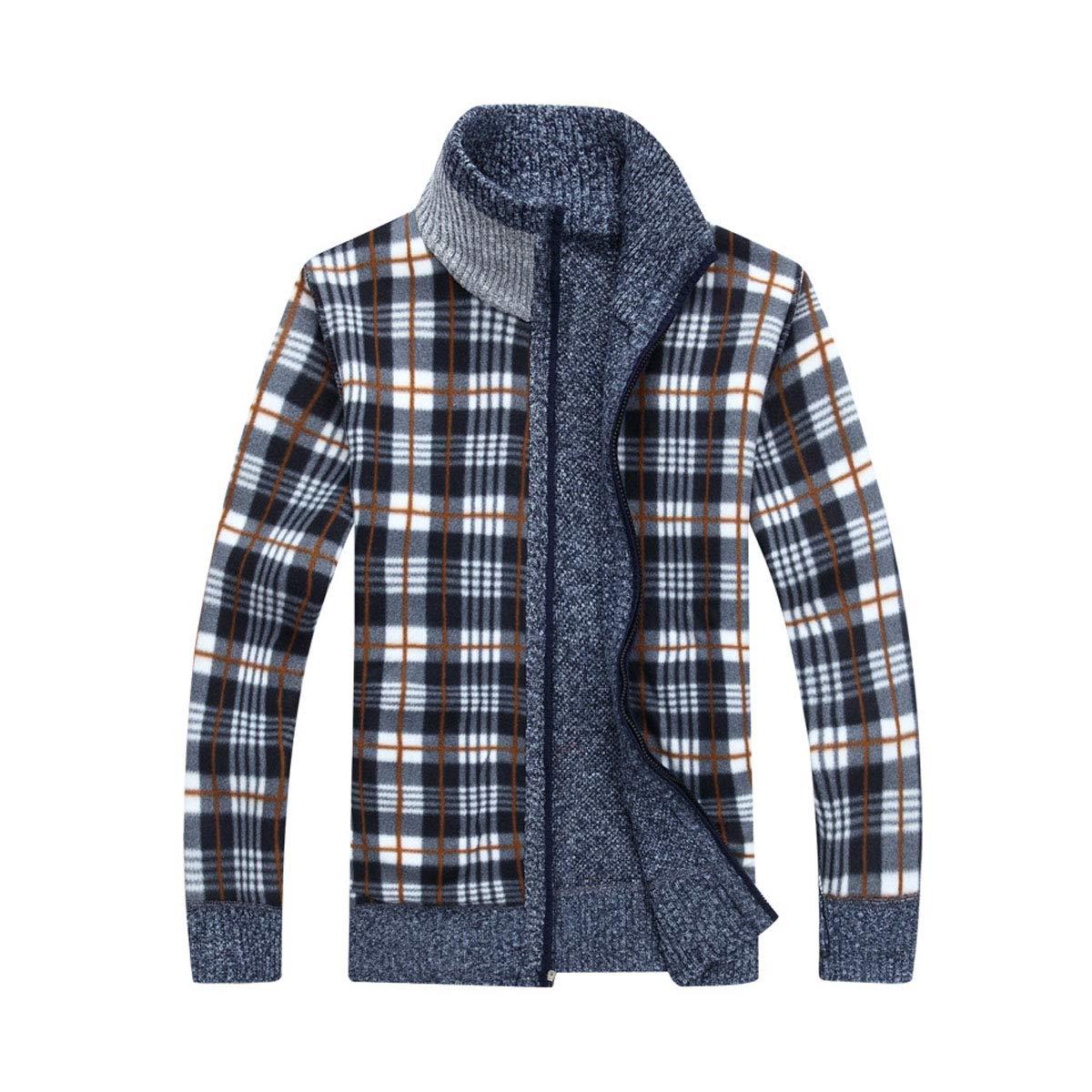 Friedman Mens Fleece Cardigan Sweater Warm Cashmere Dress Slim Fat Wool Zipper Casual Knitted Coat