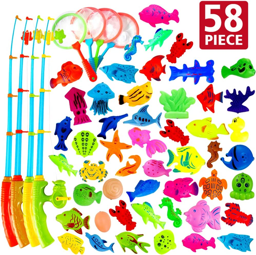 AUUGUU Magnetic Fishing Game Party Favors 58 Pcs - 4 Poles & Reel That Cranks and 4 Nets 50 Floating Fishes for Kids Water Table Bath Tub Pool Floor, Best Birthday Gift for Toddler 3 4 5 Year Old