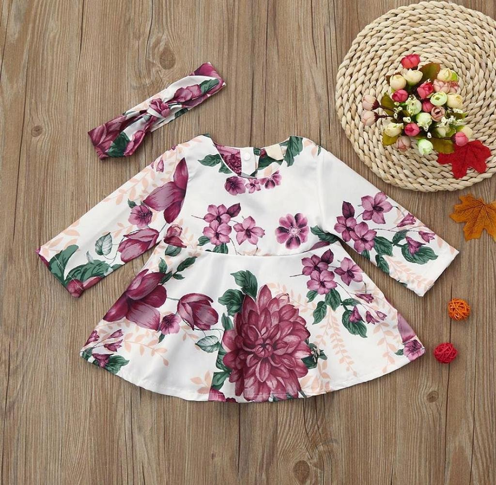 Multicolor, 0-6 Months Singleluci 2PCs Baby Girls Floral Print Long Sleeve Dress A-line Dress+Headband Outfits Set