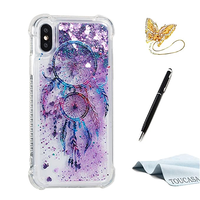TOUCASA Funda iPhone X, Glitter Brillante Liquida Transparente TPU Silicona,Funda Móvil Case Líquido Quicksand Anti-arañazos Brillante Case Cover para ...